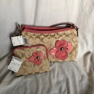 Coach bag with leather flower and matching wallet